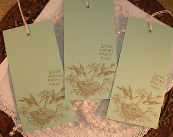 Bird Nest Wish Tree Tags Love Warms Every Nest Mint Green Baby Shower Set of 25