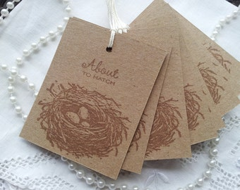 Baby Shower Birds Nest Tags Kraft Paper Its a Boy or Girl Baby Shower Favor Tags Set of 20