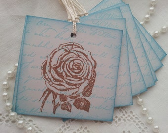 Vintage Inspired Rose Tags Set of 8