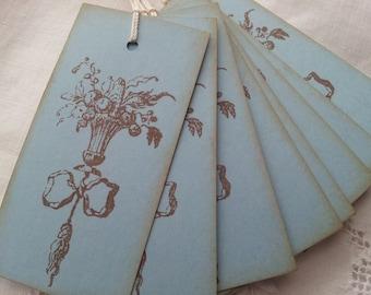Vintage Inspired Tussie Mussie Tags Set of 8