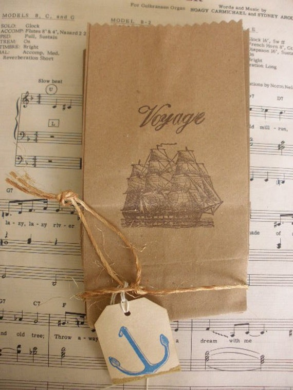 Set of 8 Nautical Themed Favor or Goodie Bags with Tag.