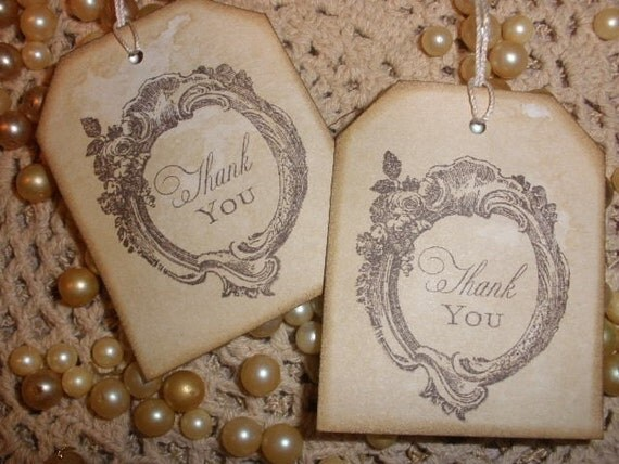 25 Vintage Thank You Tags.