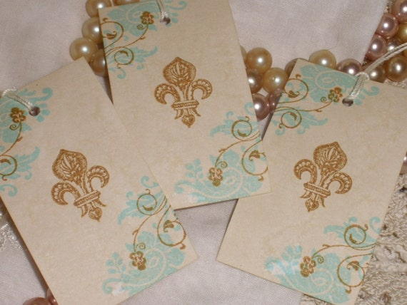8 French Inspired Fleur de Lis Tags