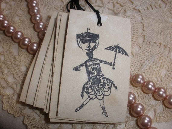 Altered Art Doll Tags Vintage Inspired Set of 10