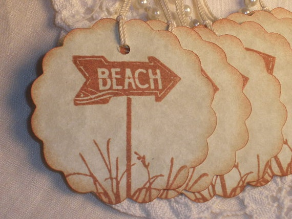 6 This Way to the Beach Vintage Inspired Tags