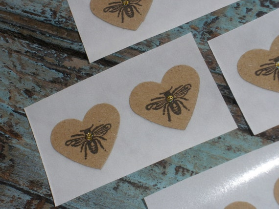 Heart Shaped Bee Mini Stickers with Glitter Accent Set of 20