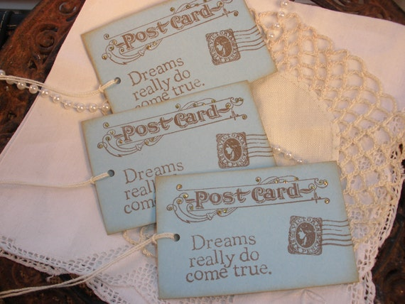 Wedding Wish Tags Vintage Inspired Dreams Do Come True Set of 6