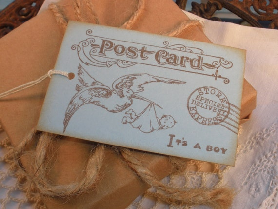 Baby Boy Vintage Inspired Postcard Tags Set of 6