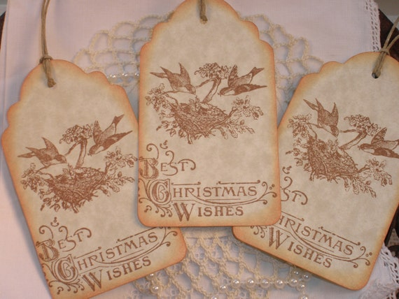 SALE Christmas Tags Bird Family Nest Set of 6