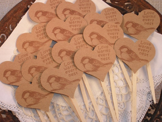 Wedding Cupcake Toppers Love Warms Every Nest Bird Set of 25