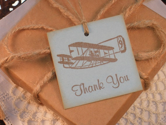 Plane Thank You Tags Birthday Party Set of 8