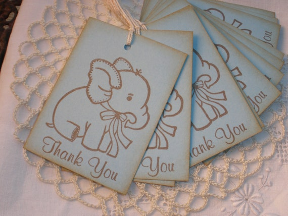 Baby Shower Tags Baby Elephant Thank you Set of 12