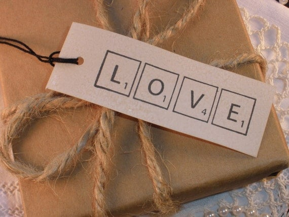 Scrabble Love Wedding Tags Vintage Inspired Set of 30