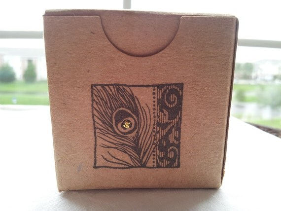Peacock Feather Kraft Boxes Set of 6