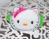 Miss Kitty Hair Clip Feltie - Hot pink and lime green