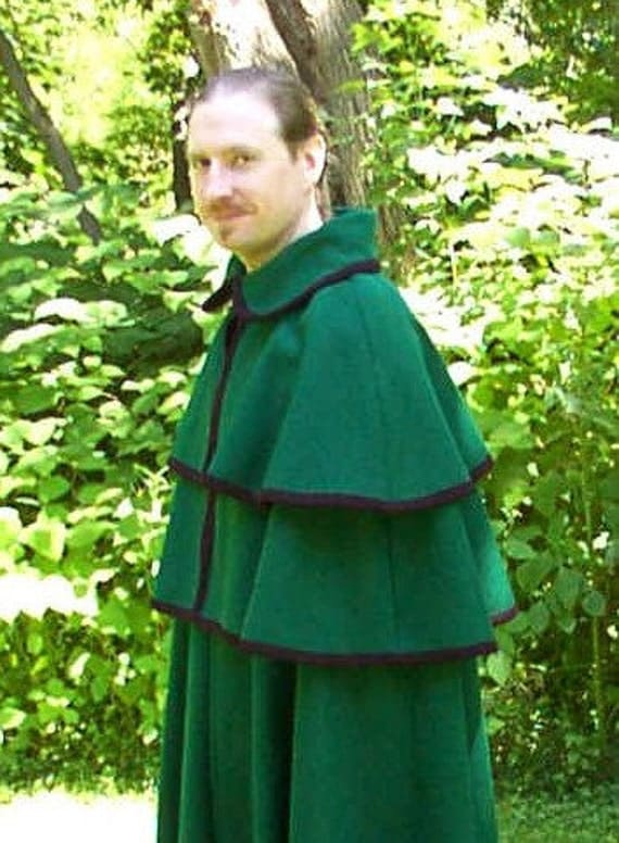 Custom, Made-to-Measure Two-Piece Wool Cape and Cloak - Dickens, Victorian, Coachman, Period Outerwear