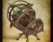 Steampunk Vintage Ad Series -Time Machine- 11 x 14 Art Print by Brian Giberson