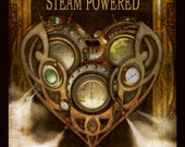 Steampunk Vintage Ad Series - Dr. Professor's Steam Powered Heart  - Art Print by Brian Giberson