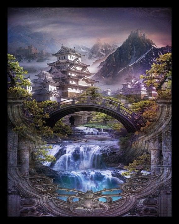 Lost Lands of Imagination - Shangri-La - Art Print by Brian Giberson