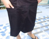 3\/4 Thai Fisherman Wrap Pants - Black - Free Size