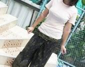 Thai Fisherman Wrap Pants - Black - Golden Print - Slaf Cotton - Free Size