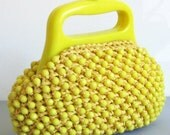Vintage 1960's Bright Yellow Mod Space Age Beaded/Raffia Handbag