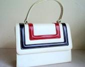Vintage 1960's Handbag / White Purse / Red Blue Stripe / Mod