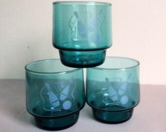 Vintage Bowling Theme Drinking Glasses // Tumblers // Turquoise Blue Glasses // Vintage Kitchenware