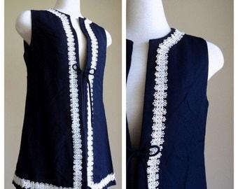 Vintage 1970's Vest // Navy Blue Passamentarie Trim Dress Vest // Betty Lane Original