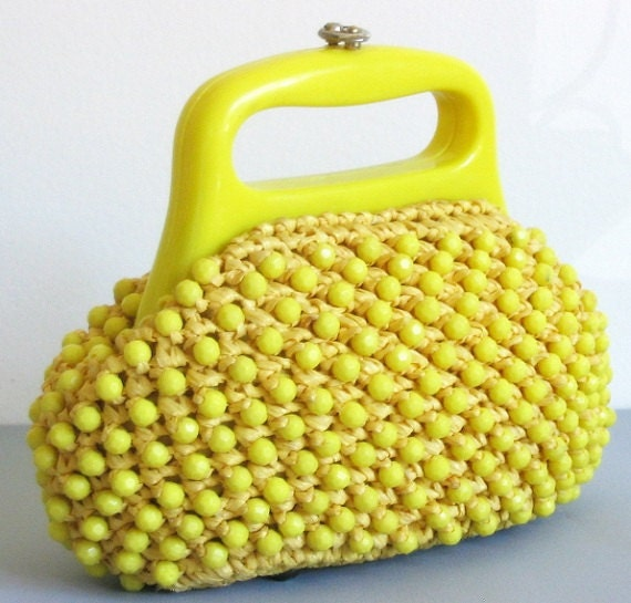 Vintage 1960's Bright Yellow Mod Space Age Beaded/Raffia Handbag