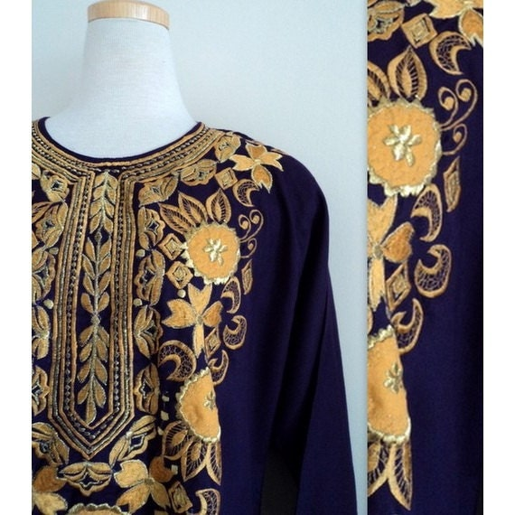 1970's Purple Gold Caftan // Embroidered Maxi Dress // Ethnic Bohemian Dress
