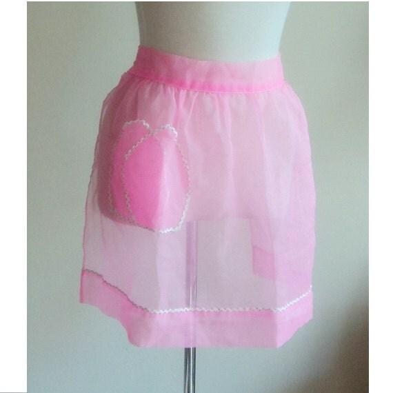 Vintage 1950's Pink Chiffon Apron // Hostess Half Apron