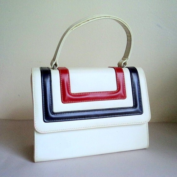 Vintage 1960's Handbag / White Purse / Red Blue Stripe / Mod