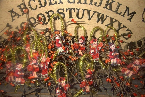 Vintage Looking Halloween Children-Tinsel and Paper Ornaments