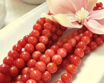 Marbled Light to Medium Cherry Red to Pink 8mm Round Dyed Jade Beads 16 Beads 5 inches (13cm) 16pcs