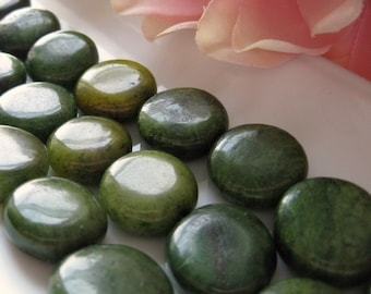 CLEARANCE SALE Spring Greens Dyed Jade Coin Beads 16mm Coins 4 pcs