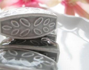Large Ceramic Gray Leaf Pattern Bead 15mm by 30mm (3mm hole) LAST ONE