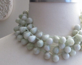Cloudy Sea Green New Jade Briolettes Teardrops 17mm by13mm 2 pairs