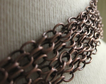 Antiqued Copper Cable Chain 4mm by 5mm 3 Feet  91cm
