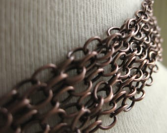 Antiqued Copper Cable Chain 4mm by 5mm 1 foot (31cm)
