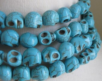 CLEARANCE SALE 25% OFF Turquoise Dyed Magnesite Skulls 13mm by 10mm 4 pcs (2 pairs)