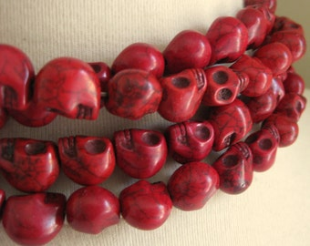 CLEARANCE SALE 25% OFF Red Dyed Magnesite Skulls 13mm by 10mm 4 pcs