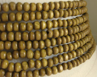 Rondelle Wooden 5mm by 3.5mm  Beads Honey Finish 16 inches ( 41cm)