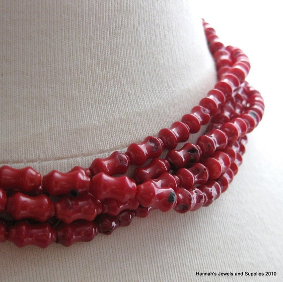13 Natural Blood Red Coral 5inches (12.5cm) Dog Bone Beads