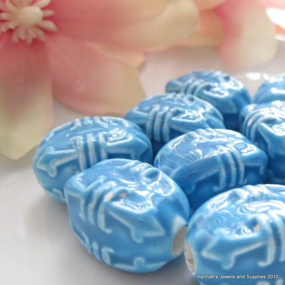Good Sized Ceramic Turquoise Pattern Bead 16mm by 23mm (4mm hole)