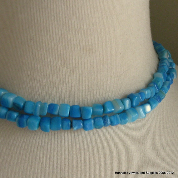 CLEARANCE SALE 35% OFF Bright Turquoise Blue Dyed Mother of Pearl 4mm - 6mm Cube Bead 7.5 inches (19cm)