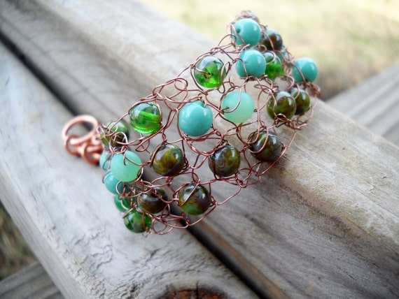 Antiqued Copper and Mossy Green and Blue Wire Crochet Bracelet by MegsCrochetJewels