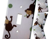 Mod Pod Pop Monkey Light Switch Plate/Outlet Covers Set with matching safety plugs