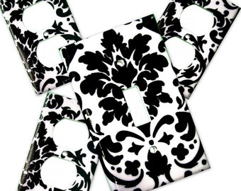Black Damask Light Switch Plate/Outlet Covers Set with or without matching safety plugs