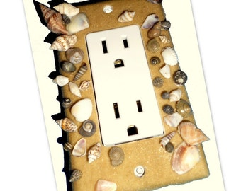 Beach Sand and Seashell Rocker/Decora Light Switch or Outlet Cover